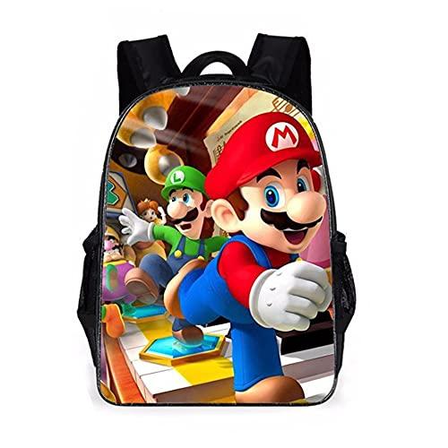 Super Mario Mochila Escolar,3D Super Mario Juego Impreso Mochila,Mario Brothers Mochilas para Estudiante Primaria,Mochila de Dibujos Animados para Niños Estudiantes de Primaria y Secundaria