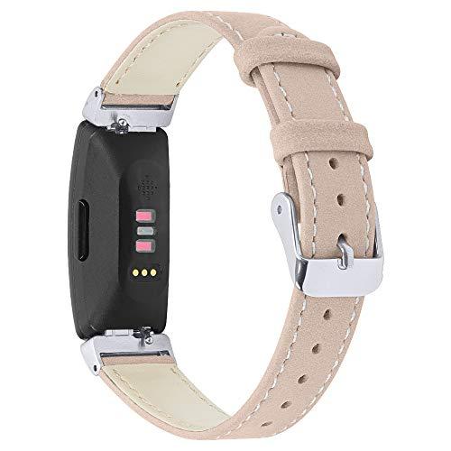 Aottom Kompatibel mit Fitbit Inspire 2 Armband, Fitbit Inspire Armband Leder Schweißfest Herren Damen Metall Armband Ersatzband für Fitbit Ace 2/Fitbit Inspire 2/Inspire/Inspire HR Fitness Tracker