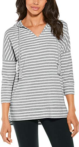 Coolibar UPF 50+ Women's Key Colony Beach Hoodie - Sun Protective (Small- Grey & White Stripe)
