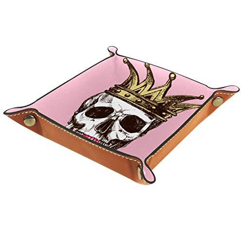 AMEILI Schmucktablett aus Leder mit Schnappverschluss, Würfelhalter, Aufbewahrungsbox für Schlüssel, Handy, Münzen, Geldbörse, Uhren, etc., Kaffee, König des Todes, Schädel, Krone, Lippenstift