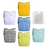 Reusable Baby Cloth Pocket Diapers, 6 pcs + 6 Inserts, Aanimal, One...