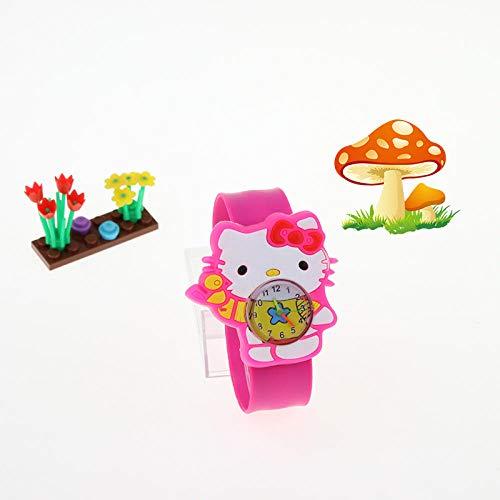 NNTYSSPD Jungen und Mädchen Universal 3D-Cartoon-Muster Jungen Gummi Sportuhr-Pinke Katze