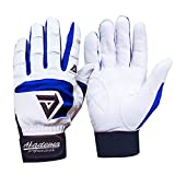 Baseball Batting Gloves Super Grip Leather Palm for Adult and Youth, Softball Hitting Gloves Men Women Junior Non-Slip Hand Protection Waterproof Flexibility for Training Competion (Blue, Youth-Small)