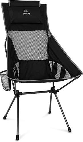 Ultraleichter Faltbarer Campingstuhl Reisestuhl Outdoorstuhl mit Langer Rückenlehne und Kissen Strandstuhl Anglerstuhl -nur 1272g! Traglast 150kg (330 lbs) Farbe Grau