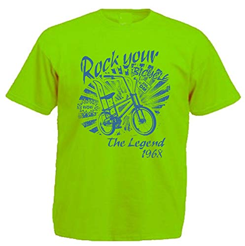 Bonanza Rad T-Shirt Lime Grün BMX Kult Fahrrad High-Riser Skater Old School Bike (XL)