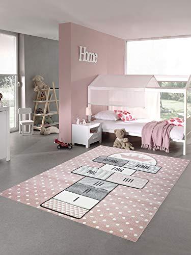 Merinos Kinderteppich Hüpfspiel Teppich Hüpfkästchen in Rosa Grau Creme Größe 120x170 cm