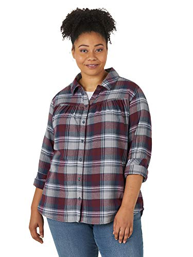 Riders by Lee Indigo Damen Plus Size Long Sleeve Semi-Fitted Flannel Shirt Button...