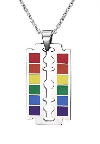 Preisvergleich Produktbild VNOX Paare Homosexuell Lesben Halskette Edelstahl Klinge Form Regenbogen Stolz Halskette Anhänger mit freier Kette 60cm