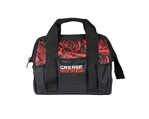 """Grease Monkey 12"""" Cargo Tool Bag, Lockable Tool Organizer & Carrier, Black & Red Carflage"""