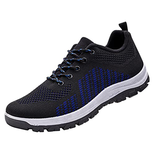 Zapatillas de correr para hombre, transpirables, para caminar, tenis, gimnasio, atlético, casual, deporte, fitness, entrenamiento, antideslizantes, zapatos planos para correr, Blue, 40 2/3 EU