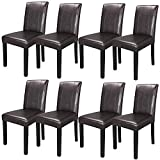 SUPER DEAL Solid Wood Leatherette Padded Parson Dining Chair, Waterproof & Oilproof Stretch Kitchen Dining Room Chairs, Espresso (8)