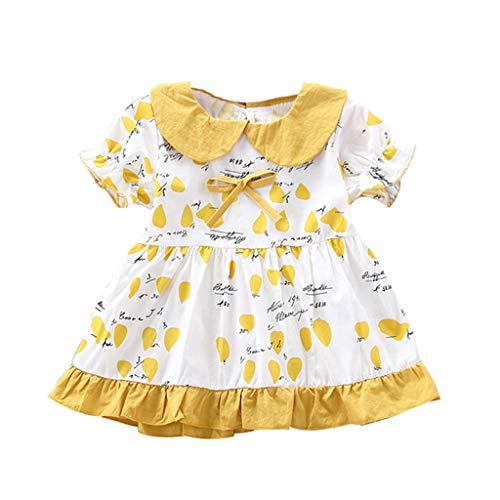 Moneycom❤Enfant en Bas âge bébé Enfants Filles Volants Robe froncée Lettre imprimée Arc Robe de Princesse Jupe Anniversaire Tulle Chic Ceremonie Mariage Jaune(12-18 Mois)