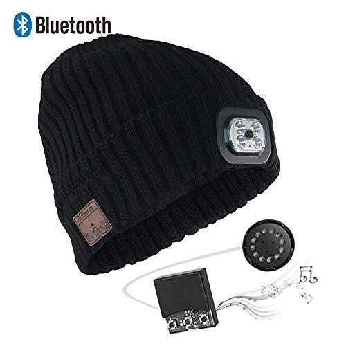 LNLJ Stijlvolle draadloze bluetooth-cap met led-lampjes, afneembare stereoluidsprekers en microfoon, uniseks voor binnen en buiten, vakantiecadeau