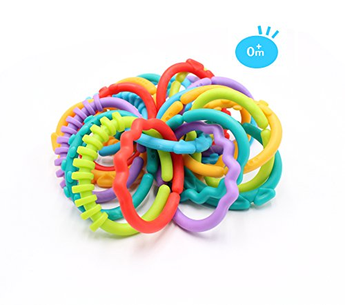 24 Pack Baby Teether Rings Links Toys Colorful Round Connecting Ring for Rattle Strollers Car Seat Travel Toys - Suit for Baby, Infant, Newborn, Kids(Rainbow Colors)