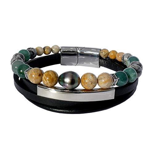 Inspiración verde: Pulsera de piel, piedras naturales y perla de Tahití barroca BRO8550.