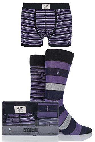 Mens 3er-Pack Jeep Geist Gift Boxed Mixed Gestreifte Boxershorts und Socken Schwarz / Violett / Grau L