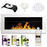 GMT - Bioethanol Eco Smokeless Fireplace White 90x40cm with Protective Glass - Indoor Decorative Wall mounted or recessed Fire Heater Chimney - Easy to Mount with Bio Liquid Fuel & Stones & Aroma Oils
