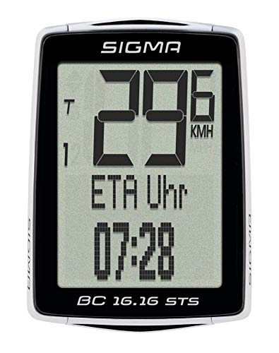 Sigma Sport Fahrrad Computer BC 16.16 STS CAD, 16 Funktionen, Ankunftsanzeige, Kabelloser Fahrradtacho, Schwarz