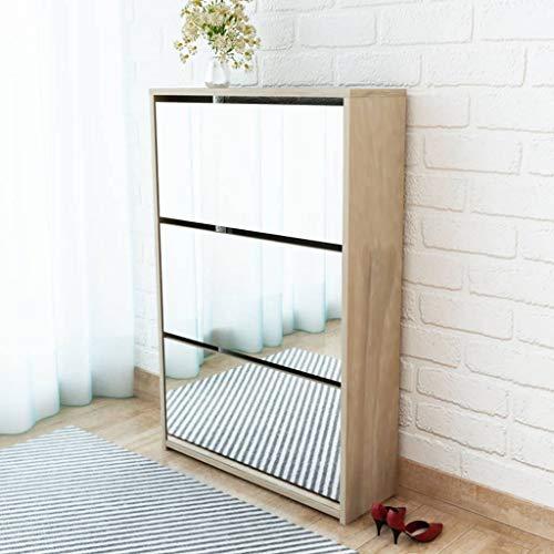 Mueble zapatero de roble con 3 compartimentos con espejo Casa y jardín Productos del hogar Organización y almacenamiento Almacenamiento de ropa y armarios Zapateros y organizadores de calzado