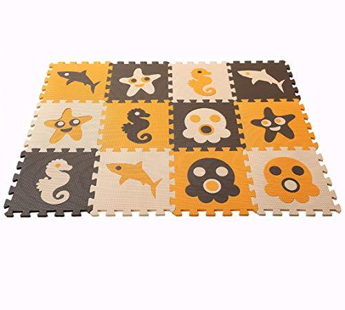 MUSOLEI Baby Play Bodenmatte Ocean Puzzle, Spielzeug Übungsfliesen Spielmatte Soft EVA Foam Interlocking Bodenfliesen 12 Stück/BeutelJedes Stück = 12