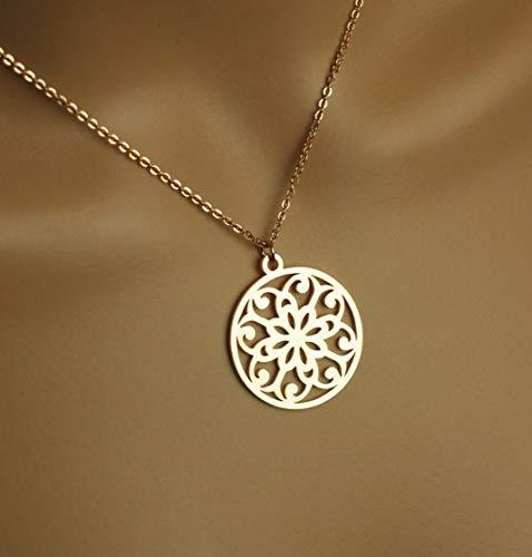 Kette Ornament Mandala orientalisches Muster Kreis rund rosé golden Juvelato