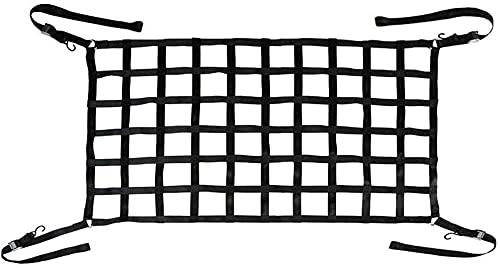 "SKYTOU Cargo Net Short Truck Bed Cargo Net 66"" x 50"" Heavy Duty Cargo Nets for Pickup Trucks with Cam Buckles & S-Hooks"