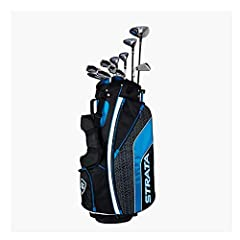 Strata Ultimate is designed for ultimate distance and ultimate performance; This set includes: driver, 3 wood, 4 and 5 Hybrid, 6  to 9 Iron, PW and SW, Putter, Stand Bag, 4 Head covers Woods: Full titanium golf driver gives you a large sweet spot and...