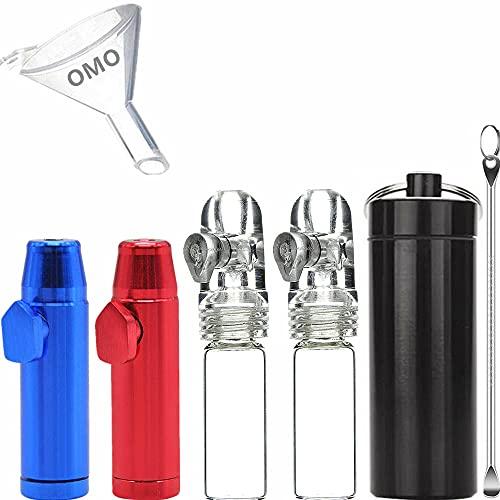 OMO Snuff Kit 2 Glass Snuff Bullet(White)2 Metal...