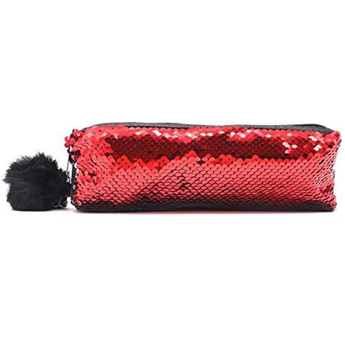 Estuches Lápiz de lentejuelas reversible de color rojo Útiles escolares Papelería Regalo Caja de lápices linda Lápiz estuche para niña Estudiante Herramientas de la escuela