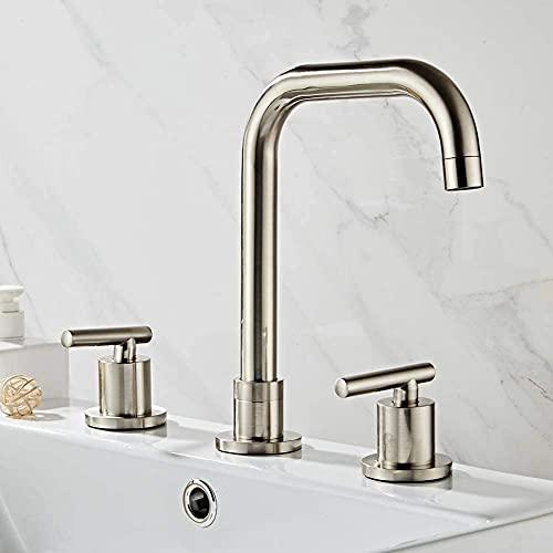 Mezclador de lavabo de 3 orificios Baño Grifo de lavabo cepillado Mezclador de dos manijas Mezclador de baño Giratorio de 360 ° para baño de latón