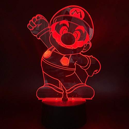 Cute Super Mario Children Bedroom Decoration Night Light Lovely Cartoon Game Movie Touch Sensor 3D Lamp Led