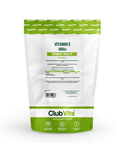 Vitamin E 400iu High Strength   90 Soft Gel Capsules   Maintenance of Skin Bone Hair & Immune Health   Swallowable Food Supplement or Use in Hair Masks or Rub onto Dry Skin & Hands   Clubvits