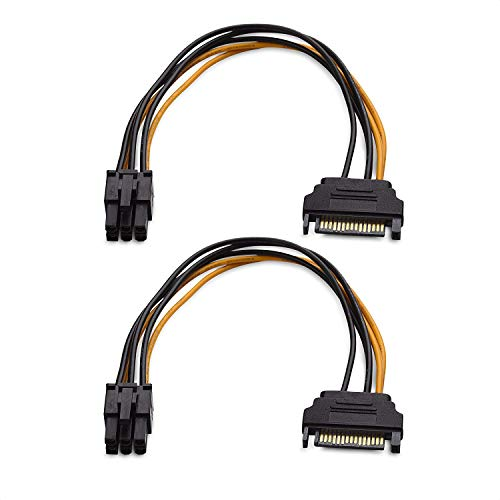 Cable Matters 2-Pack 6 Pin to SATA Power Cable (SATA to 6 Pin PCIe) - 8 Inches