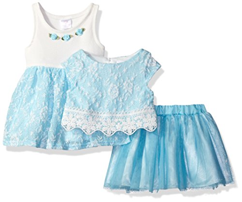 Youngland Baby Girls' 3 Pc Set, Dress, Pop-Over Top, Tutu Skirt, Blue/White, 12M