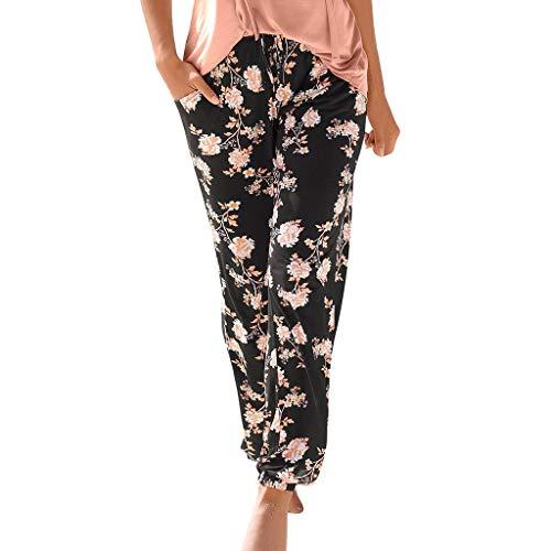 RISTHY Pantalones de Playa Mujer Bohemio Palazzo de Pierna Ancha Casual Estampado Floral Baggy Pantalones Harem Pantalones Fluidos Mujeres Ocasionales Verano Pantalones Vacaciones