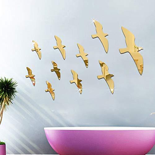 Vovotrade Stickers Mural Miroir Oiseau Mouette Miroir 3D Design Unique Décoratif Salle De Bains Miroir Décoratif Wall Sticker (Gold)