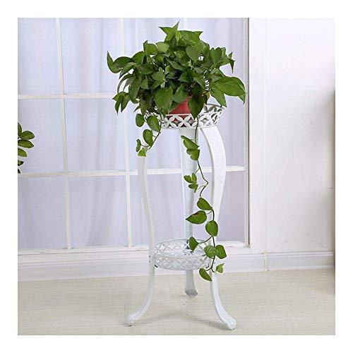 JCCOZ - URG Desmontable Metal 2 Tiers Flower Stand, Planta Banco de exhibición Flor Stand Outdoor Living Room Balcón Planta del Flor (82 centímetros de altura) URG (Color: Blanco)