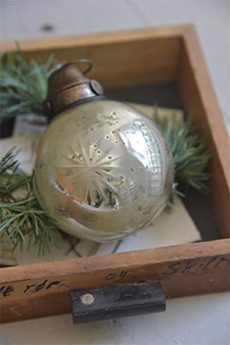 Jeanne d´Arc living Weihnachtskugel mit Schliff 2-er Set Antiksilber Finish Christbaumschmuck Glas 550706 Christbaumkugel Kugel Ø 8 cm
