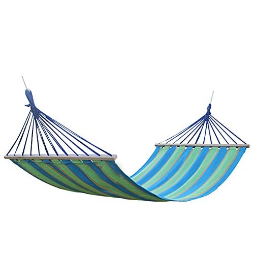 XMH Hamacas Portátiles, Hamaca De Lona De Algodón Individual para Exteriores con Cama Oscilante De Palo De Madera, Ideal para Interior, Exterior, Jardín, Patio, Porche, Camping,Colorful Color