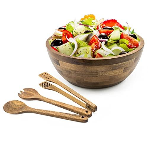 Pak Wooden Salad Bowl Set, Salad Bowl, Large Salad Bowls, Large Wooden Bowls, Salad Mixing Bowl, Wood Serving Bowl, Wood Salad Bowl Set, Salad Bowls Large, Wooden Salad Bowl Sets with Serving Utensils