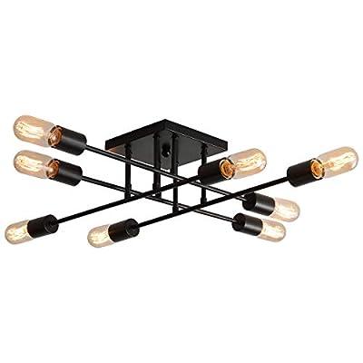 PUSU Semi Flush Ceiling Light Black 8 Light Sputnik Chandelier Industrial Style Kitchen Track Light Fixtures L35.4''H5.9'' Lighting Living Room Ceiling Vintage Light Oiled Bronze Dining Room Light