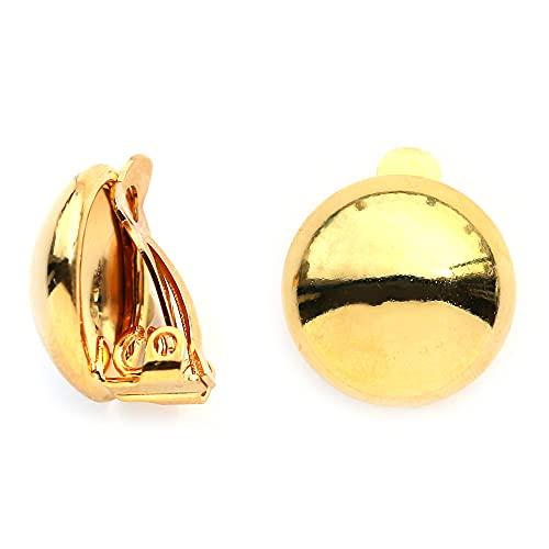 [Melody Accessory] 日本製 イヤリング フープ ボタン メタル ボール クリップ フィット おしゃれ ハイカラ 華奢 樹脂 スタッド 痛くない レディース ブランド (E-S58) (ゴールド色)