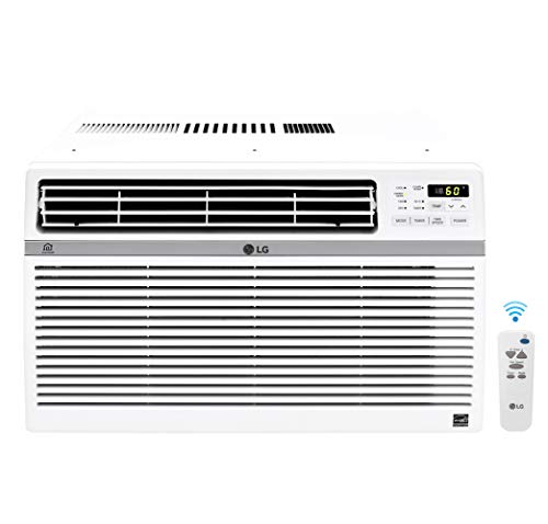 LG Mounted Wi-Fi 10,000 BTU Smart Window Air Conditioner, Cools up to 450 Sq. Ft, Smartphone and Voice Control works ThinQ, Amazon Alexa and Hey Google, ENERGY STAR, 3 Cool & Fan Speeds, 115V, White