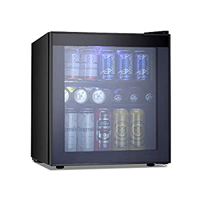 Kismile 1.6 Cu.ft Beverage Refrigerator and Cooler,60 Can Mini Fridge with Glass Door for Soda Beer or Wine,Small Drink Cooler Dispenser Counter Top Refrigerator for Home,Office,Bar (Gray)