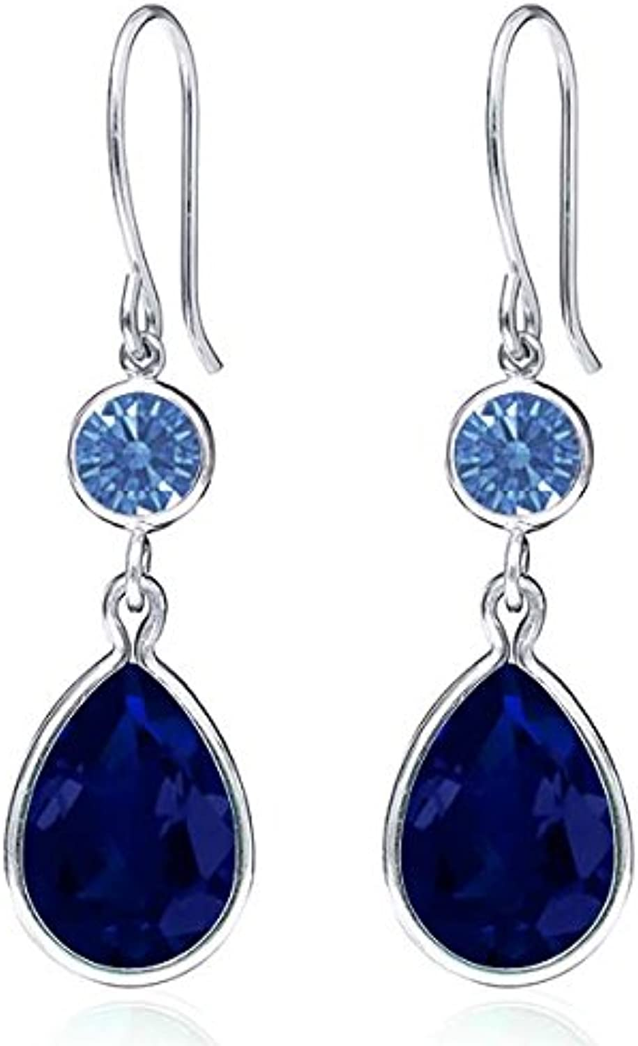 12.38 Ct bluee 925 Sterling Silver Earrings Made With Swarovski Zirconia