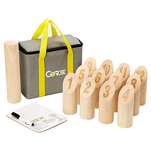 Gorock Numbered Block Toss Game, Wooden Bowling Throwing Game Set with Scoreboard & Carrying Bag, Giant Outdoor Backyard Lawn Game for Kids Adults Family