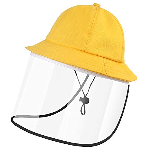 Kids Sun Hats with Removable Full Face Visor,Anti-dust UV Protective Bucket Hat Yellow