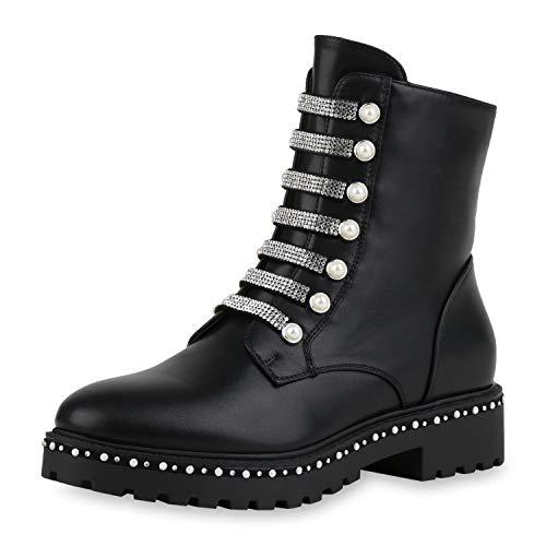 SCARPE VITA Damen Klassische Stiefeletten Strass Biker Boots Zierperlen Schuhe Leder-Optik Booties Profilsohle 185079 Schwarz Perlen 37