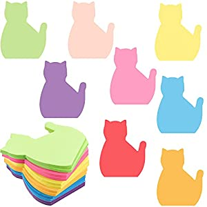 480 Sheets Cat Sticky Notes Set, 8 Colors Bright Colorful Sticky Pad 30 Sheets/Pad Cute Cat Self-Stick Notes, Study Work School Office Supplies Desk Accessories