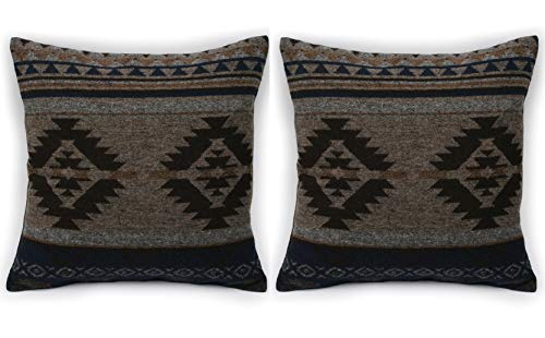 Ruth&Boaz Inka Pattern Square Decor Pillow Case Cushion Cover (L-Brown Set of 2, 18\'x18\')